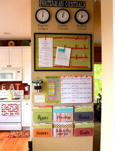 16. Kitchen Command Center: It's easy to let the bills and papers overrun the kitchen counter. Keep your family straight and your counter clear with an easy-to-see calendar and some file folders. (via Achieving Creative Order) | 20 Super Smart Ways to Organize Your Kitchen via Brit + Co.