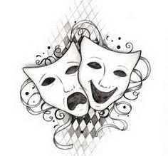 Drama masks / Comedy and Tragedy Strichpunkt Tattoo, Note Tattoo, Tattoo Names, Tattoo Music, Theatre Logo, Tattoo Mascara, Theater Mask Tattoo, Comedy Tragedy Masks, Comedia Musical