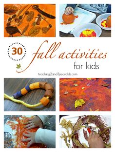 Looking for fall activities you can do in your classroom or at home? Here are 30 ideas that preschoolers love! Fall Preschool Activities, Preschool Crafts, Toddler Activities, Preschool Classroom, Classroom Projects, Learning Activities, Craft Projects, Fall Sensory Bin, Sensory Bins