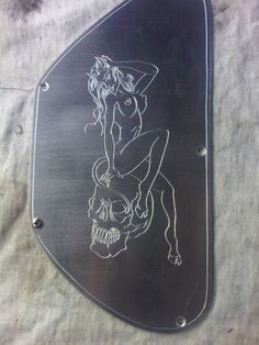 Gibson Epiphone SG Aluminum Rear Plate. Hand Made and Engraved Devil Girl and Skull.