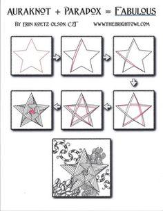 drawing a star or pentacle tutorial - Auraknot + Paradox by Certified Zentangle Teacher Erin Olson Zentangle Drawings, Doodles Zentangles, Doodle Drawings, Tangle Doodle, Zen Doodle, Doodle Art, Star Doodle, Zantangle Art, Zen Art