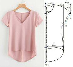 Sewing Paterns, T Shirt Sewing Pattern, Skirt Patterns Sewing, Blouse Patterns, Clothing Patterns, Tunic Pattern, Sewing Blouses, Sewing Shirts, Costura Fashion