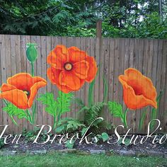 6 x 80 poppy fence I painted in a shady space where colorful plants would not grow Garden Fence Art, Diy Fence, Backyard Fences, Pallet Fence, Colorful Plants, Outdoor Paint, Fence Design, Yard Art, Garden Projects