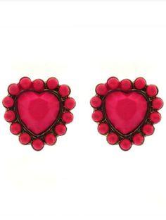 Rose Red Heart Gold Stud Earrings