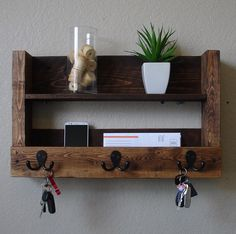 Items similar to Modern Rustic Entryway Organizer Shelf with Satin Nickel Coat Hat Hooks on Etsy Rustic Entryway 3 Hanger Hook Coat Rack with Shelf and Mail Phone Key Organizer–this is being sol Rustic Entryway, Entryway Decor, Pallet Crafts, Wood Crafts, Pallet Furniture, Rustic Furniture, Modern Furniture, Wood Projects, Woodworking Projects