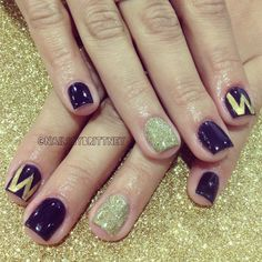 Washington huskies nails-for Ramon's graduation Mani Pedi, Manicure And Pedicure, Pedicures, Uw Huskies, Graduation Nails, Girls Nails, University Of Washington, Nail Games, Purple Gold
