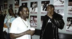 Jay-Z and Kanye West, photographed backstage during the New York stop of West's Glow in the Dark Tour at the Madison Square Garden, by Nabil Elderkin on May 13, 2008.