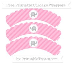 Free Carnation Pink Diagonal Striped Baby Elephant Scalloped Cupcake Wrappers