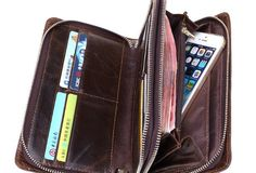 Handmade clutch long wallet leather zip men coffee vintage wallet for | EverHandmade
