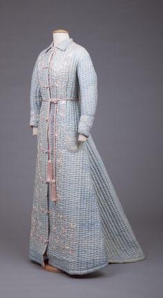 1870-1889 Blue silk robe.
