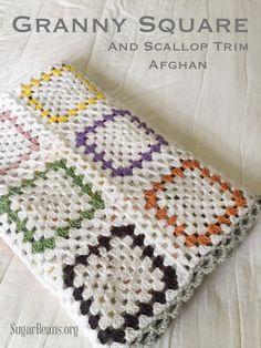 Granny Square & scallop trim afghan. SugarBeans.org