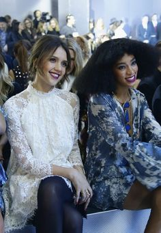 """celebstarlets: """" 2/26/14 - Jessica Alba + Solange Knowles at the H&M 2014 Fashion Show in Paris. """""""