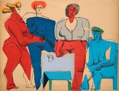 Charles-Edouard Le Corbusier(Swiss/French, 1887 - 1965) Four Women, 1950 Ink and paper collage on paper