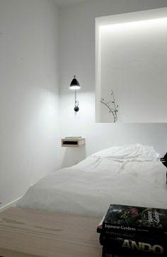 table de nuit suspendue, chevet flottant dans une chambre à coucher…