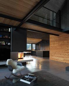 Top 5 Inexpensive Family Room ideas ( Z House an Alpine house . By Geza Architecteur Studio . Located In . Loft Interior, Black Interior Design, Interior Design Inspiration, Interior Architecture, Chalet Interior, Interior Modern, Modern Exterior, Exterior Design, Alpine House