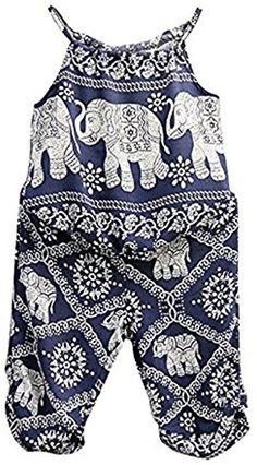 Amazon.com: 2Pcs/Set Kids Baby Girls Elephant Jumpsuit Romper, Straps Tops+Harem Pants Outfit (2-3 Years, Blue): Clothing