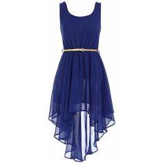 Aysmmetric royal blue dress ❤ liked on Polyvore