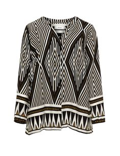 Printed blouse in Black / Camel designed by Zizzi to find in Category Blouses at navabi.de
