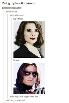 This. Is perfect on so many levels. Make-up and hair goals: even if you don't reach them, Steve Rogers will love you like he loves his Peggy and his Bucky.