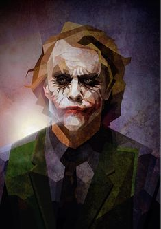The Joker by Luis Huertas. Color Heath Ledger in low poly. R.I.P.