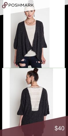 🌟MONDAY SALE🌟Charcoal Lace Back Sweater Open front cardigan with a white lace back. 🌟SALE PRICE IS FIRM UNLESS BUNDLED 🌟 Umgee USA Sweaters Cardigans