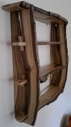 Walnut wood shelves Natural edge wallmounted by BenjaminsBarn, - Luxury Interior Design