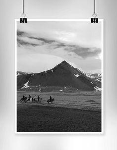 Grey scale photo landscape - Iceland - oversized print - home decor - Engineering print - travel - adventure