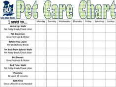 Pet Care Requirement #5: Keep a Chart for two Weeks listing all the required care you give to your pet.