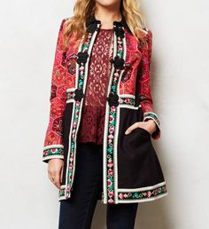 Statement Coats: Elevenses coat with colour blocking and embroidery, $328, anthropologie.com