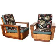 Pair of Hawaiian Koa Wood Club Chairs Wood Furniture, Bedroom Furniture, Outdoor Furniture, British Colonial Style, Mid Century Modern Furniture, Inspired Homes, Club Chairs, Wood Projects, Outdoor Chairs