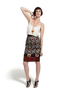 R29 Shops: Oscar De La Renta Couture Beaded Pencil Skirt
