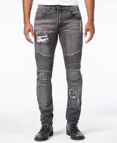 Young & Reckless Men's Nocturno Skinny-Fit Stretch Moto Jeans