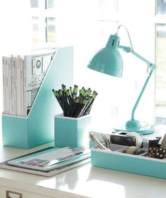 Paper Desk Accessories, Solid Pool contemporary desk accessories - Home office desk accessories Deco Turquoise, Teal Desk, Light Turquoise, Bedroom Accessories, Office Accessories, Interior Accessories, Desk Accesories, Turquoise Accessories, Modern Furniture
