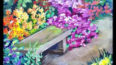 Park Bench Among the Flower Beds - Beginners Acrylic Painting Tutorial w...