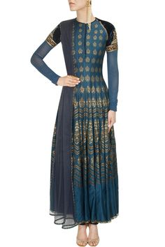 Navy and gold embroidered digital print anarkali set - JJ Valaya