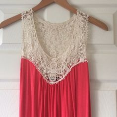 """Host Pick! Crochet Top  HOST PICK! 5/15/16 """"Style Obsessions Party""""  Salmon colored tank with crochet on top. Flowey and fits very comfortably. LOVE this shirt! But I need to make some room in my closet  Tops Tank Tops"""