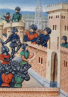 Siege of Meaux from BL Royal 20 C IX, f. 114v by Jean Chartier, 1475 - 1499. The British Library, Public Domain