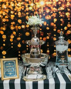 Great Gatsby Wedding 25th Anniversary Punch Bubbles Champagne Fountain Drinks