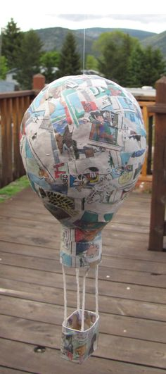 Paper Mache Hot Air Balloon using Sunday Funnies