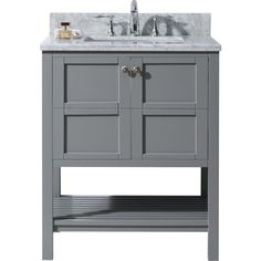 Photo Gallery On Website Virtu USA Winterfell in W x in D Vanity in Grey with Marble Vanity Top in White with White Basin