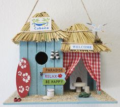 Beach Cabana Wood Birdhouse, (http://www.caseashells.com/beach-cabana-wood-birdhouse/)  #birdhouse, #californiaseashellcompany