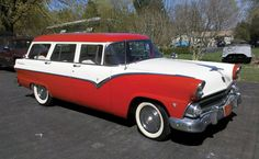 1955 Ford Country Sedan 9 Passenger Station Wagon. Our family car when I was a kid. I always got stuck in the back-back seat facing out the back window.