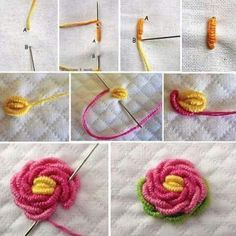 Crochet Gifts - Crochet Flower Tutorial How to crochet flower - Knitting Bordado Crewel Embroidery Kits, Embroidery Stitches Tutorial, Embroidery Flowers Pattern, Simple Embroidery, Learn Embroidery, Hand Embroidery Designs, Embroidery Techniques, Ribbon Embroidery, Cross Stitch Embroidery