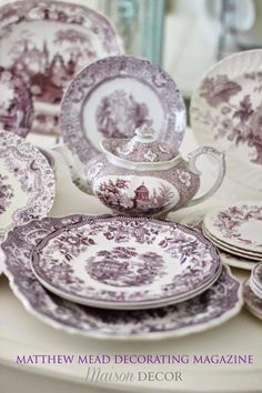 Purple Transferware Collection ~ Mary Wald's Place - Maison Decor: Starting a Collection Antique Dishes, Vintage Dishes, Vintage China, French Decor, French Country Decorating, Lavender Cottage, French Country House, French Cottage, Country Farmhouse