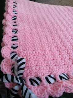 Adorable+pink+with+zebra+stripe+ribbon+baby+by+LovePrayCrochet,+$40.00