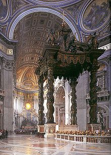 Saint Peter's tomb - Wikipedia, the free encyclopedia St. Peter's baldachin, by Bernini, in the modern St. Peter's Basilica. St. Peter's tomb lies directly below this structure.