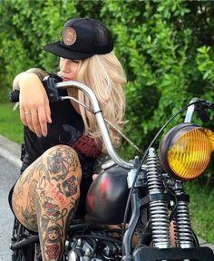 Epic Firetruck's Motor'sicles & Women ~ Female Motorcycle Riders, Motorbike Girl, Bobber Motorcycle, Motorcycle Babe, Girl Bike, Harley Bikes, Harley Davidson Bikes, Lady Biker, Biker Girl