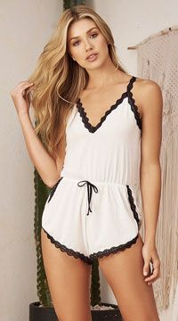 Lounging On A Cloud Sleep Romper, White Sleep Romper - Yandy.com Women Lingerie, Sexy Lingerie, Bare Necessities, Lace Back, Lingerie Sleepwear, Girl Fashion, Fashion Design, Rompers Women, Lace Trim
