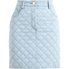 MOSCHINO Quilted Denim Mini Skirt (£230) ❤ liked on Polyvore featuring skirts, mini skirts, bottoms, faldas, moschino, blue denim skirt, button skirt, quilted skirt, mini skirt and blue denim mini skirt