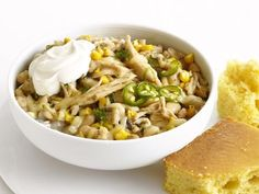Chicken-Corn Chili Recipe : Food Network Kitchen : This is one of my favorite dinners! Chili Recipe With Corn, Chili Recipes, Soup Recipes, Chicken Recipes, Cooking Recipes, Healthy Recipes, Healthy Dinners, Salad Recipes, Diet Recipes